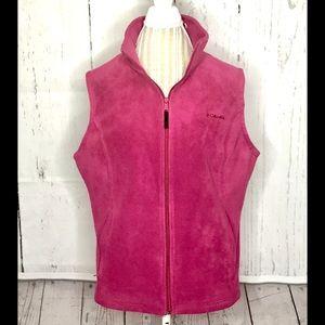 Women's Columbia Fuchsia zip up Fleece Vest XL